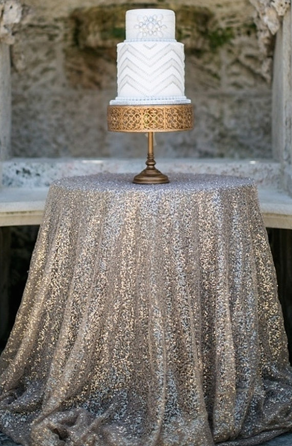 Silver Sequin Table Cloth