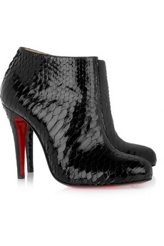 Belle 100 glossed-python ankle boots