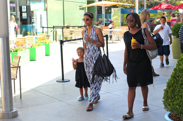 Halle Berry white and black maxi dress