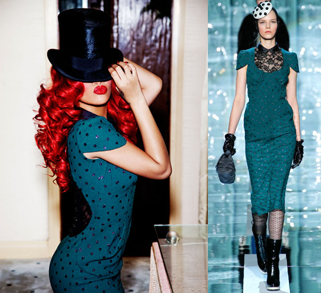 rihanna mark jacobs green polka dott dress fall collection 2011