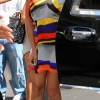 Beyonce nyc block colourful dress one shoulder