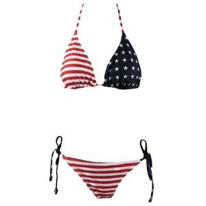 rihanna red american flag bikini