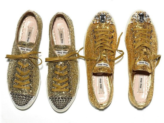 GOLD MIU MIU SHOES SPARKLE