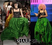 nicki minaj osca de la renta green dress