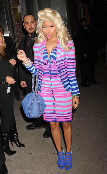 nicki minaj stripy dress pink blue