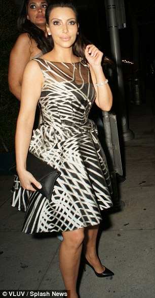 kim kardashian black and white dress