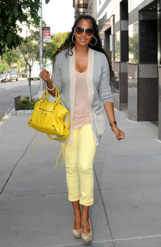 Lala yellow jeans celebrities in yellow