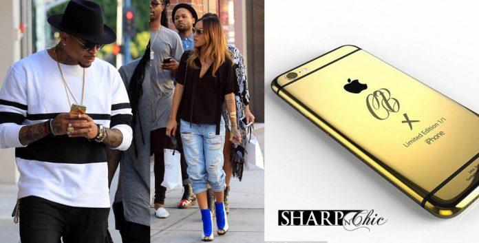 chris brown mobile phone gold custom