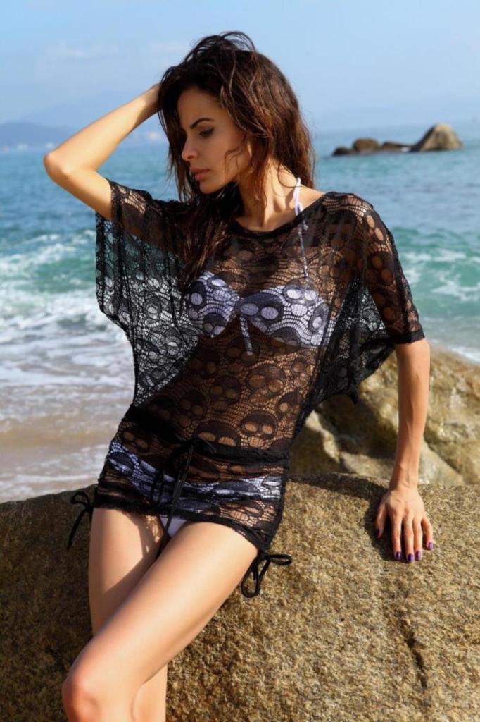 black crochet and white bikini