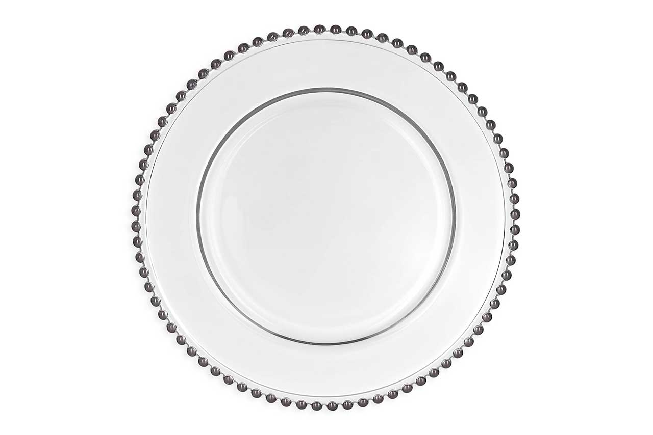 Top Silver Beaded Charger Plates - Sharp N Chic Weddings FX65