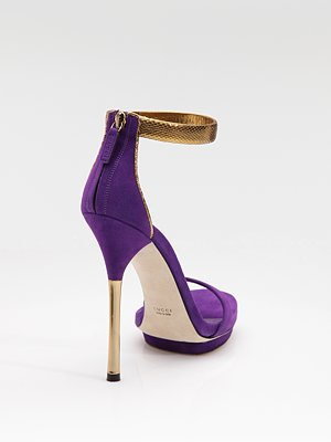 Gucci Shoes Kelis Suede & Python Ankle