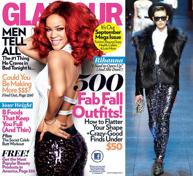 rihanna glamour d&g sparkle pants