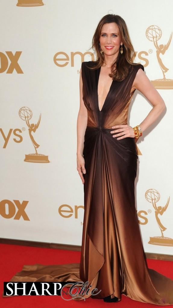 kristen wiig gold brown dress emmys
