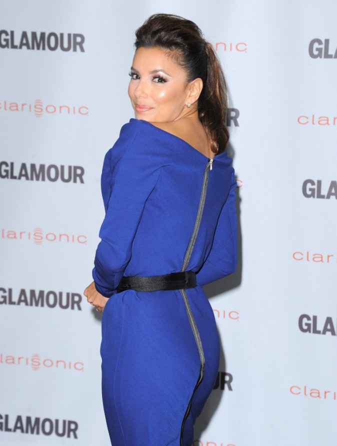 eva longoria blue victoria beckham dress