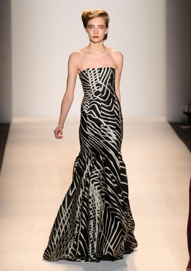 lela rose black and white gown