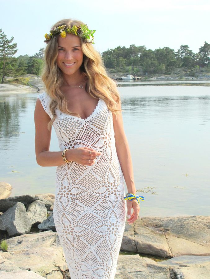 garland long dress crochet beach summer coverup